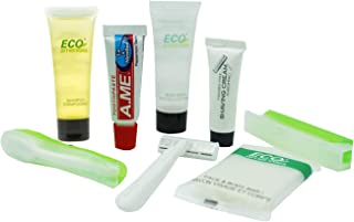 ECO Amenities All-in-Kit Travel Toiletries Bag, 6-Piece Mini Sized Travel Accessories in a Hygenic PVC Bag, 18 Kits