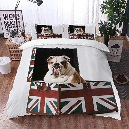 Mingdao bedding - Duvet Cover Set, English Bulldog Sitting in Union Jack Britain Themed Box Patriotic Design,Microfibre Duvet Cover Set 200 x 200 cmwith 2 Pillowcase 50 X 80cm