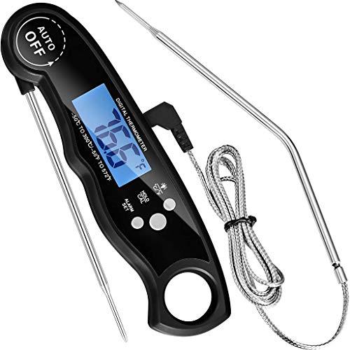 HOSPAOP - Termometro digitale da cucina, con 2 sonde in acciaio inox e filo lungo, temperatura preimpostata per cucina, barbecue e barbecue