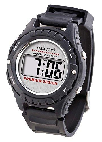 Premium Sprechende Sport Armbanduhr Sprachfunktion Zeitansage Uhr für Blinde Wasserfest großes LCD Digitale Sportuhr Sehbehinderte