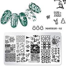 Panrot 1Pc Nail Stamping Plates Christmas Snowflakes Santa Claus Winter Nail Art Stamp Template Image Plate Stencil DIY Manicure Tools (Manzilin-02)