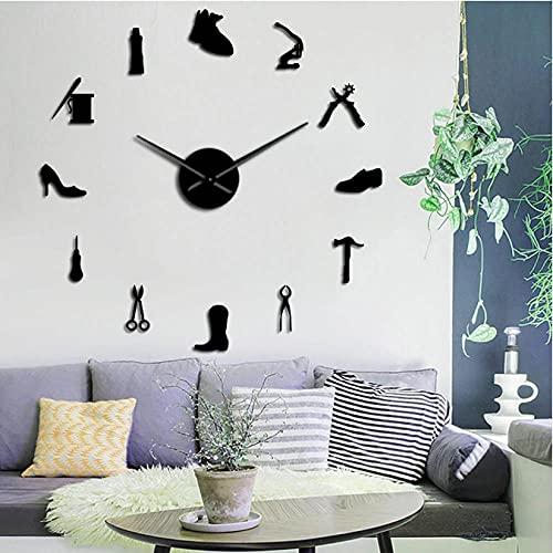 JKLMZYT Reparación de Zapatos Arte de la Pared DIY Reloj de Pared Gigante Zapatero sin Marco Reloj silencioso Grande Zapatería Zapatero Arquero Zapatero Regalo Decoración de la habitación-47inch