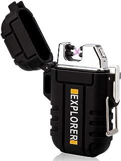 lcfun Waterproof Lighter Outdoor Windproof Lighter Dual Arc Electric Lighters Rechargeable-Flameless-Plasma Lighter for Camping,Hiking,Outdoor Adventure,Survival(Black)