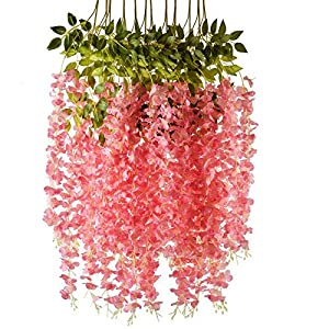Romase 12 Pack 3.6 Feet/Piece Artificial Wisteria Vine Ratta Fake Wisteria Hanging Garland Silk Long Hanging Bush Flowers String Wedding Home Party Decor (Pink)