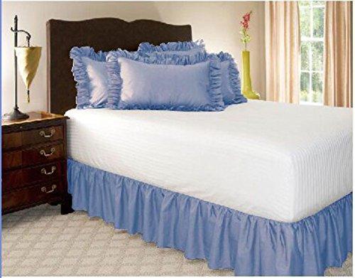 Wrap-aro& bed, Einfach fit elastische staub rüsche rock Falten & lichtwiderstandsfähige volltonfarbe hotel qualität stoff 15 zoll Fallen Queen-king Vollständige Stifte Twin-azurblau 150x200cm(59x79inch)
