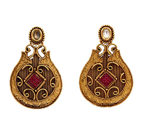 JewelryGift Traditional Bali Earrings Gold Plated Red Ruby Design Indian Handcrafted Fashion Jewellery for Women and Girls MYE 16-RED
