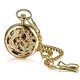Avaner Reloj de bolsillo de cuarzo para hombre, diseño de dragón y fénix, con cadena de 31 pulgadas