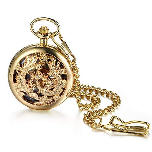 Avaner Orologio da Tasca Meccanico Manuale Collana con Pendente Disegno di Drago Numeri Romani Colore Nero/Oro/Argento