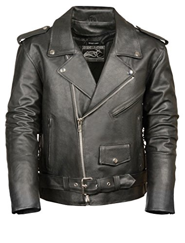 Event Biker Leather - EL5411-BLK-3X Men's Basic Motorcycle Jacket with Pockets (Black, XXX-Large)