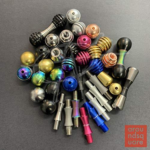 AroundSquare Knucklebone Modular - Begleri - Skill Toy (Aluminum Pink-Honey Knobs