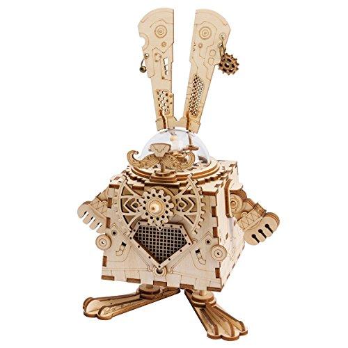 ROBOTIME 3D Laser Cut Wooden Puzzle Music Box Kit DIY Robot Toy RoboBunny Craft Kit