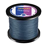 RIKIMARU Braided Fishing Line Abrasion Resistant Superline Zero Stretch&Low Memory Extra Thin Diameter Dark Gray 327Yds,20LB