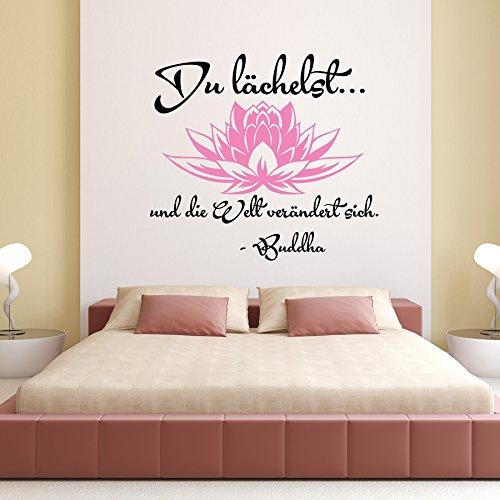 Vinyl Wandtattoo Du lächelst und die Welt verändert sich Buddha Sprüche Sprichwörter Zitat Lotos Lotosblume Yoga Wandaufkleber Wandsticker Wanddekoration Dekoration für Schlafzimmer S103
