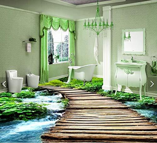 Yosot 3D Bodenbelag Benutzerdefinierte Bild 3D Brücke Wald Streams 3D Badezimmer Bodenbelag Foto 3D Wandbild Tapete-140cmx100cm
