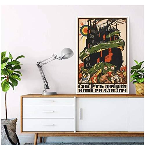 Tiiiytu Cartel de la URSS de Stalin vintage Cartel de propaganda rusa Arte de la pared Pintura de la lona Estilo retro Sala de estar Imágenes decorativas para el hogar-50x70cm Sin marco