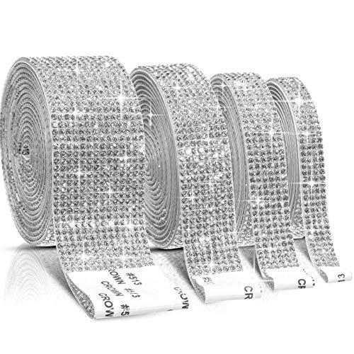 4 Rolls Self-Adhesive Crystal Rhinestone Diamond Ribbon DIY Decoration Sticker with 2 mm Rhinestones for Arts Crafts, DIY Event Car Phone Decoration (White,8.8 Yards)