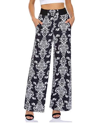 Leadingstar Summer Women's Wide Leg Palazzo Pants Comfy Floral Print Elastic Waist Casual Beach Pants Lounge Pants