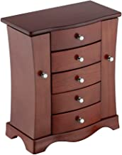 RR ROUND RICH DESIGN Jewelry Box - Made of Solid Wood with Tower Style 4 Drawers Organizer and 2 Separated Open Doors on 2 Sides and Large Mirror Brown