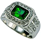 Sujak Jewelry Classy Simulated Green Emerald 40 cz Men's Ring 316 Stainless Steel Size 8 T27
