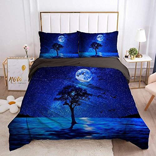 Sängkläder påslakan Blå dröm natthimmel landskap3 ST MED Kuddfodral Täckeöverdrag Dubbel Ultramjukt Anti Allergiskt Strykjärn Lyxig Mikrofiber Dubbel 135x200cm
