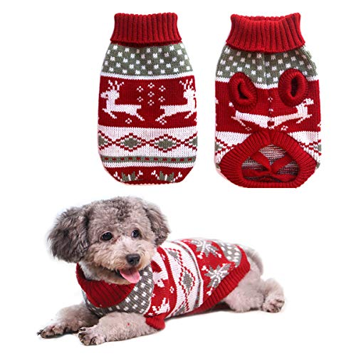 Vehomy Dog Christmas Sweaters Pet Winter Knitwear Xmas Clothes Classic Warm Coats Reindeer Snowflake Argyle Sweater for Kitty Puppy Cat-S