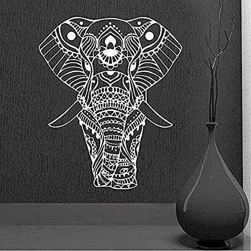 Adorno de yoga Buda Dios Elefante Etiquetas de la pared Decoración del hogar Arte Sala de estar Sala de estar Vinilo pintura de pared removible 57x68cm