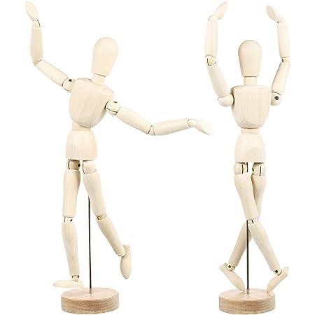K/örperzeichnung Zeichenpuppe mit flexiblen Gelenken 2 x Holzpuppen K/ünstlerkizzen-Modell f/ür Kunst perfekte Mal- und Zeichenhilfe Heimdekoration menschliche K/ünstler mit St/änder