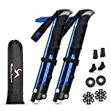 """MC Trekking Poles Collapsible 2-pc-Pack Lightweight 7075 Aluminum Adjustable 42""""-51"""" for Hiking Camping Mounting Trail"""