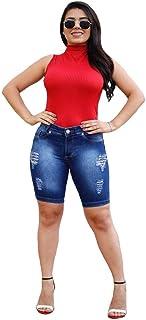 Bermuda Jeans Feminina Ciclista Azul Aço