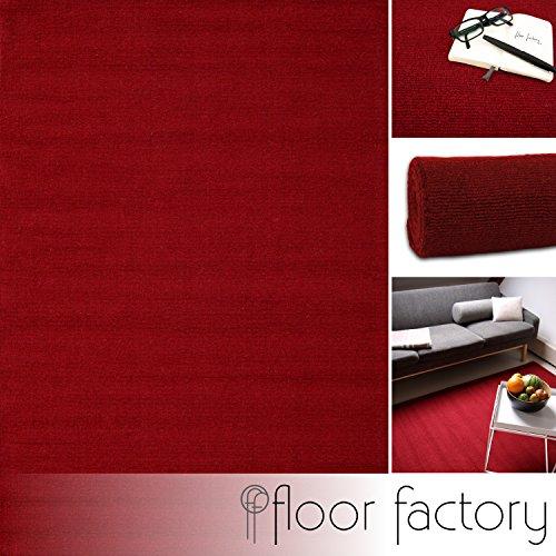 floor factory Moderner Designer Wollteppich Loft Ruby rot 160x230cm - Reine Wolle in leuchtenden...