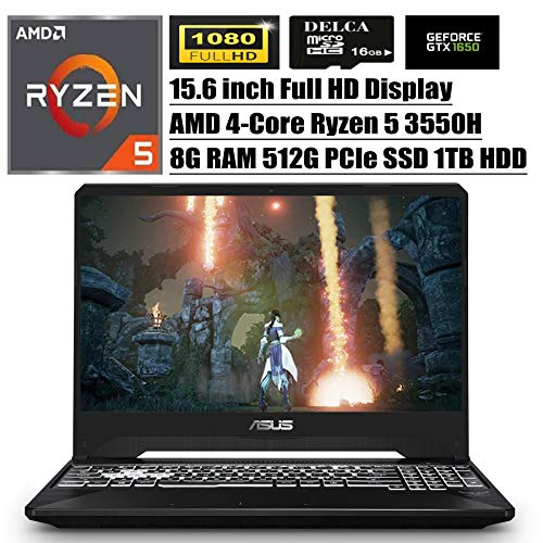 ASUS TUF 2020 Premium Gaming Laptop I 15.6' Full HD Display I AMD Quad-Core Ryzen 5 3550H (i7-7700HQ) I 8GB DDR4 512GB PCIe SSD 1TB HDD I 4GB GTX 1650 RGB Backlit Win 10 + Delca 16GB Micro SD Card