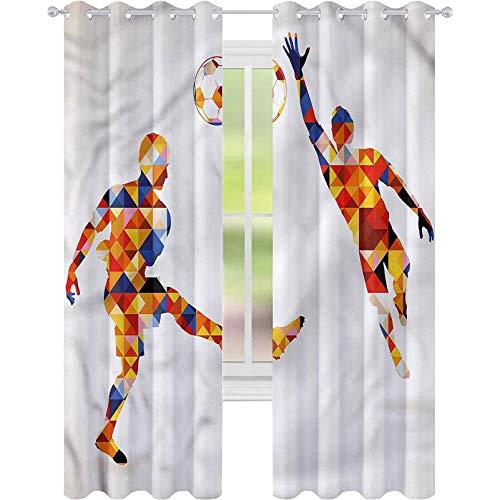 Cortina de ventana deportiva futbolistas coloridos W52 x L63 cortinas para sala de estar