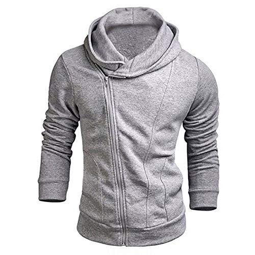 Beautyfine Men's Casual Zipper Solid Outwear Tops Long Sleeve Hoodie Blouse Solid Sweatshirt Gray