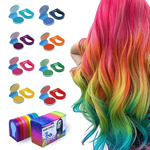 TALLSOCNE Hair Chalk for Kids – 8-Color Non-Sticky Washable Hair Dye for Kids – Hair Chalk for Girls with Dark Hair, Blonde – Vibrant Temporary Hair Color for Kids – Washes Out with Shampoo