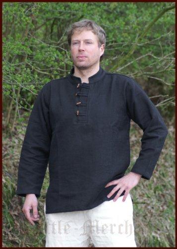 Moyen/solide-chemise de pirate pour homme en coton tisséà la main en bois avec noir-mOYEN-lARP, viking Taille XXXL