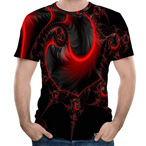 Yowablo Herren Poloshirt Polohemd Stehkragenshirt Kurzarmshirt Funktionsshirt Sportshirt Fitness Shirt Tee T-Shirt Sporthemd Trainingsshirt Sportswear T-Shirt (L,5Rot)