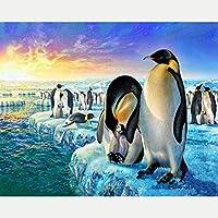 Bcbfgfdgbz クロスステッチキット刺繍キット DIY 手作り - 14CT プレプリント刺繡工芸品のフルレンジを初心者向けマルチカラーパターンスターターキット室内装飾40×50cmペンギン