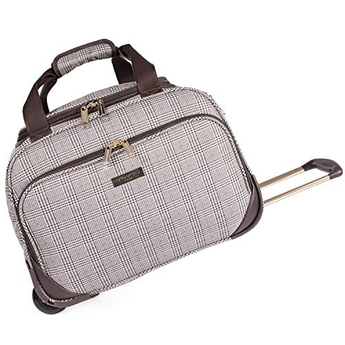 London Fog 16 Inch Holdall with Wheels - Duffle Bag on Wheels   Soft Shell Check Luggage with Drag Handle 41cm 1.58kg 35L Capacity   Camberley LFL003 (Holdall)