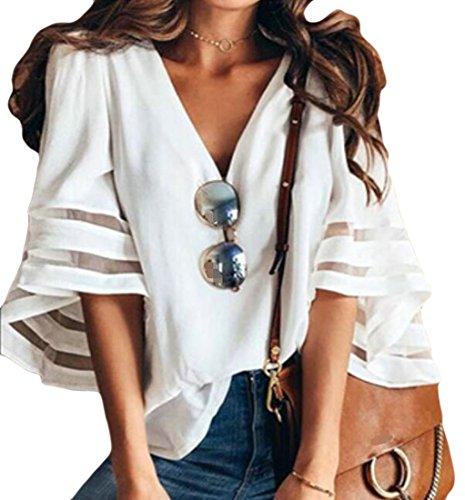 Wopop – Blusa de Malla para Mujer, Estilo Casual, Cuello en V, Color Liso, Blanco, L