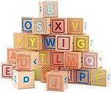 Juego de 26 bloques de madera ABC en inglés de abecedario para niños temprano educación, bloques de construcción de madera para regalo