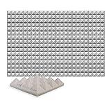 Super Dash (24 Unidades) de 25 X 25 X 5 cm Pulgadas Insonorización Pirámide Espuma Absorción Aislamiento Acústica Paneles Tratamiento Conjunto SD1034 (GRIS)