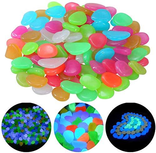 Piedras Luminosas - WENTS 200 Piezas Piedras Decorativas Guijarros, Piedras Decorativas del Jardín para Las Calzadas Decoración al Aire Libre Tanque de Peces de Acuario Camino Lawn Yard (Color)