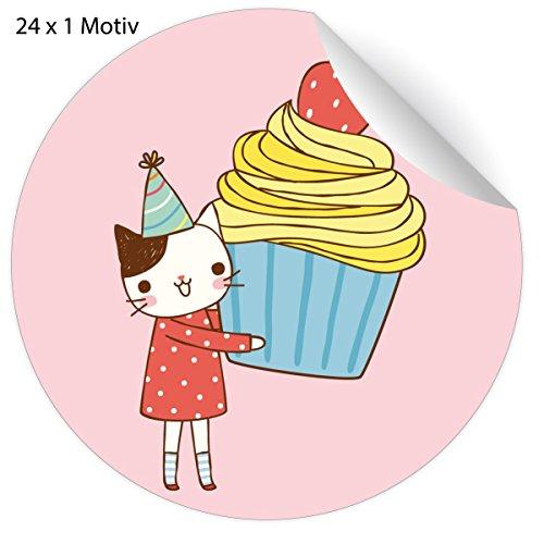 24 schattige verjaardagsstickers met partykat en muffin, roze, matte papieren stickers voor geschenken, meegebeld, universele etiketten voor tafeldecoratie, pakketten, brieven en meer, diameter 45 mm, 24 x 1 motief 5 x 24 stickers