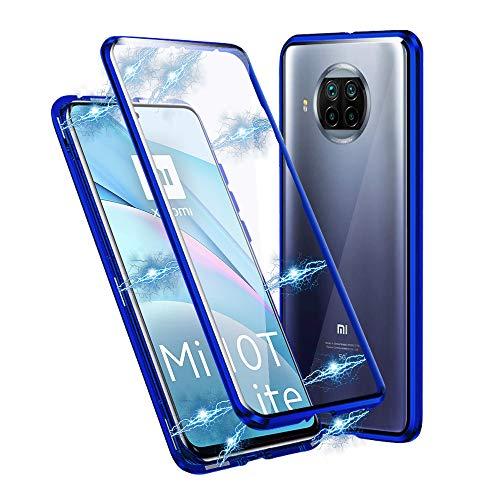 Ellmi Funda para Xiaomi Mi 10T Lite, Adsorción Magnética Parachoques de Metal con 360 Grados Protección Case Cover Transparente Ambos Lados Vidrio Templado Cubierta (Azul)