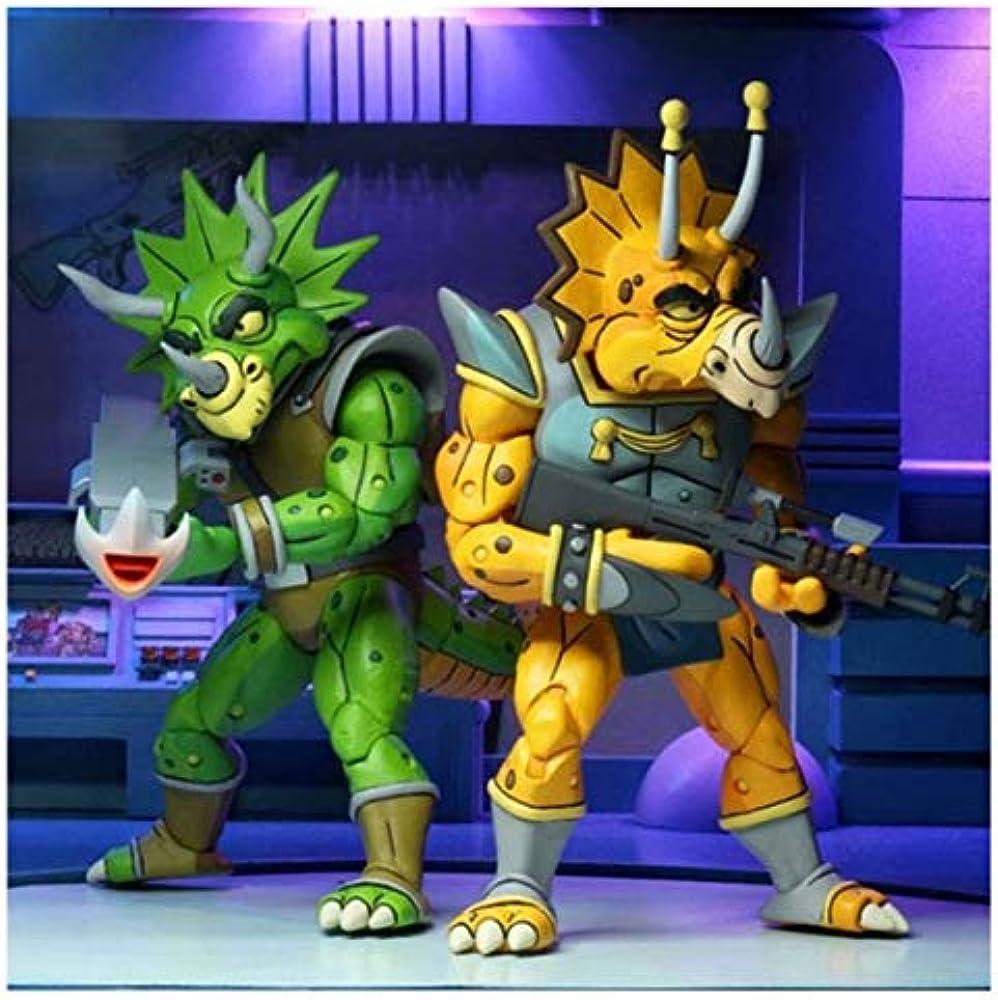 Neca - statue tmnt tortues ninja cartoon – confezione da 2 ,  zorax & zork , 18 cm 0634482541593