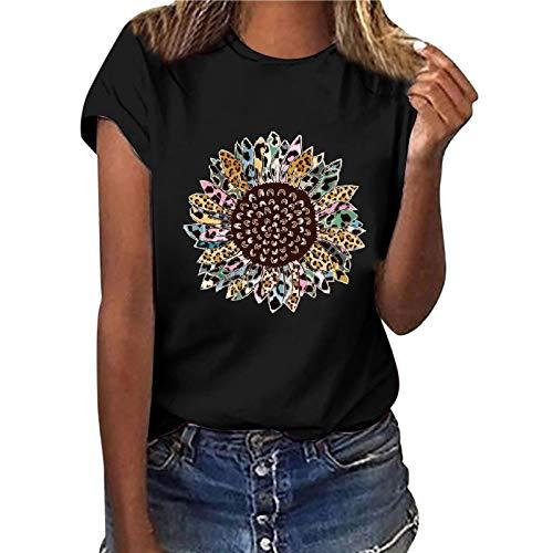YAnGSale Top Women T-Shirt Sunflower Print Tee Tops Short Sleeve Shirts Plus Size Blouse Comfy Tunics Vest Streetwear (A -Black, M)