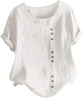 Fankle Women's Cotton Linen Blouse Plus Size Short/Long Sleeve Crewneck Boho Floral Button Tops Vintage Tee Shirts