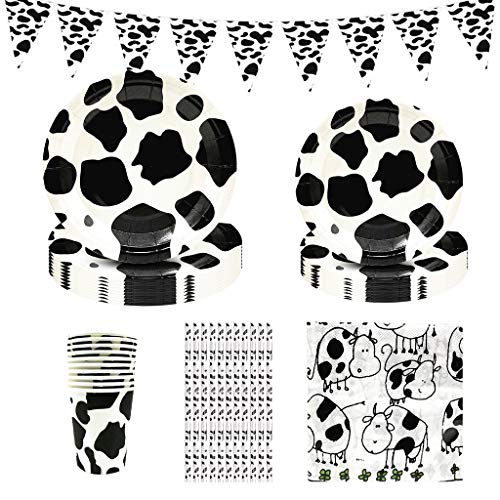 Amycute 10 Invitados Suministros de Fiesta de Granja, 61Pcs Vajilla de Animales de Granja Incluyendo Vaca Platos Vasos Servilletas Pajas para Niños Cumpleaños, Baby Shower,Fiesta de Tema de la Vaca