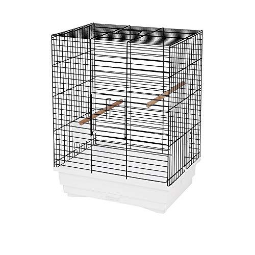 decorwelt Vogelkäfige XL Weiß Außenmaße 45,5x33,5x60 cm Urlaub Reisekäfig Zubehör Wellensittich Kanarienkäfig Plastik Vogel Modell Pola