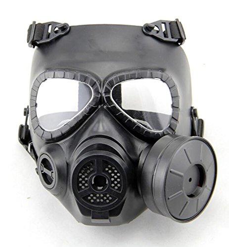 H World EU M04 Gasmaske, Anti-Nebel-Maske, Gesichtsmaske mit Turbo-Ventilator, Schutz für Softair, Paintbal, Herren, schwarz